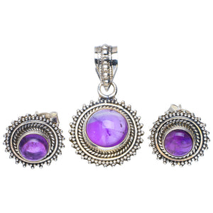 "Natural Amethyst Handmade Unique 925 Sterling Silver Jewelry Set Pendant 1.25"" Studs 0.5"" A3714"