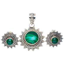 "Natural Malachite Handmade Unique 925 Sterling Silver Jewelry Set Pendant 1.5"" Studs 0.5"" A3723"