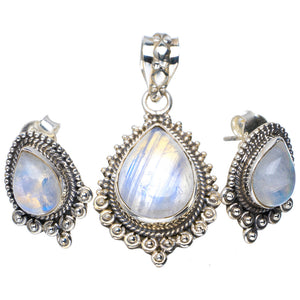 "Natural Moonstone Handmade Unique 925 Sterling Silver Jewelry Set Pendant 1.5"" Studs 0.75"" A3724"