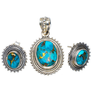 Natural Copper Turquoise 925 Sterling Silver Jewelry Set Pendant 1.5