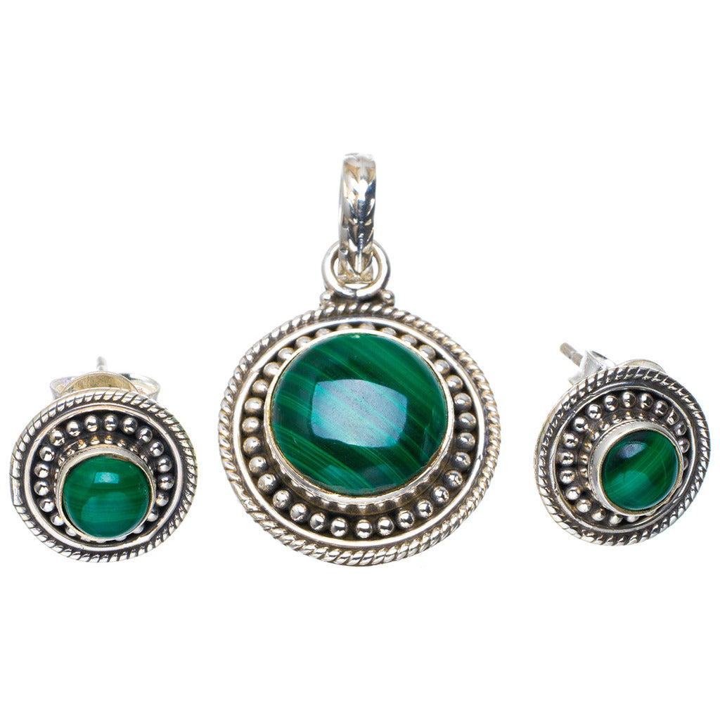 Natural Malachite Handmade Unique 925 Sterling Silver Jewelry Set Pendant 1.25