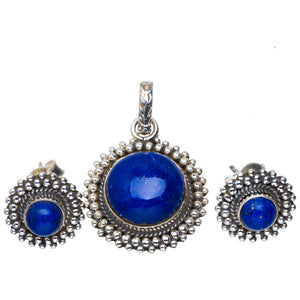 "Natural Lapis Lazuli Handmade Unique 925 Sterling Silver Jewelry Set Pendant 1.25"" Studs 0.5"" A3746"