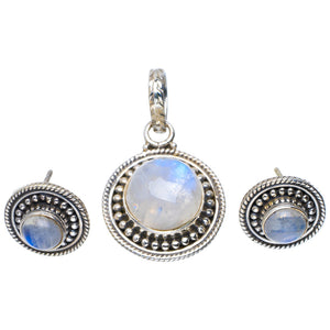 "Natural Moonstone Handmade Unique 925 Sterling Silver Jewelry Set Pendant 1.25"" Studs 0.5"" A3749"