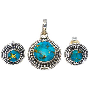 "Natural Copper Turquoise 925 Sterling Silver Jewelry Set Pendant 1.25"" Studs 0.5"" A3750"