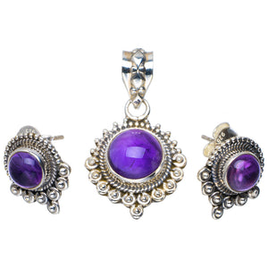"Natural Amethyst Handmade Unique 925 Sterling Silver Jewelry Set Pendant 1.25"" Studs 0.5"" A3755"
