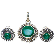 "Natural Malachite Handmade Unique 925 Sterling Silver Jewelry Set Pendant 1.25"" Studs 0.5"" A3756"