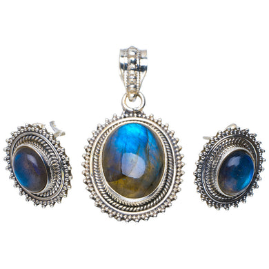 Natural Labradorite Handmade Unique 925 Sterling Silver Jewelry Set Pendant 1.5