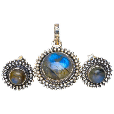 Natural Labradorite Handmade Unique 925 Sterling Silver Jewelry Set Pendant 1.25