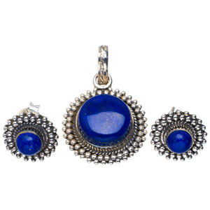 "Natural Lapis Lazuli Handmade Unique 925 Sterling Silver Jewelry Set Pendant 1.25"" Studs 0.5"" A3770"
