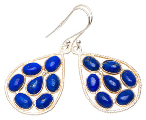 "Natural Lapis Lazuli Handmade Unique 953 Sterling Silver earrings 2"" A3872"