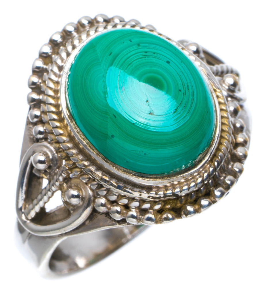 Natural Malachite Handmade Unique 925 Sterling Silver Ring 7.5 A4021