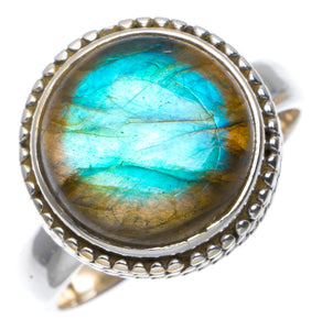 Natural Blue Fire Labradorite Handmade Unique 925 Sterling Silver Ring 7.5 A4138