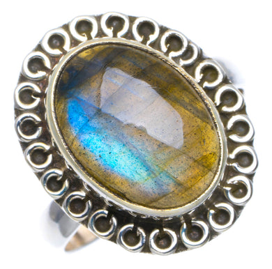 Natural Blue Fire Labradorite Handmade Unique 925 Sterling Silver Ring 7.5 A4188