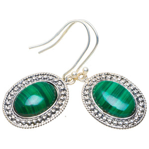 "Natural Malachite Handmade Unique 925 Sterling Silver Earrings 1.5"" A4325"