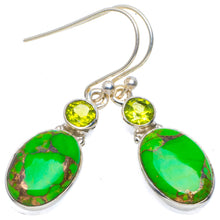 "Natural Copper Turquoise and Peridot Handmade Unique 925 Sterling Silver Earrings 1.5"" A4368"