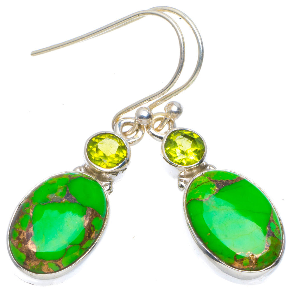 Natural Copper Turquoise and Peridot Handmade Unique 925 Sterling Silver Earrings 1.5