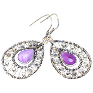 "Natural Amethyst Handmade Unique 925 Sterling Silver Earrings 2"" A4379"