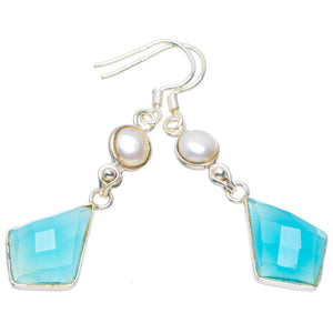 "Natural Chalcedony and River Pearl Handmade Unique 925 Sterling Silver Earrings 2"" A4396"