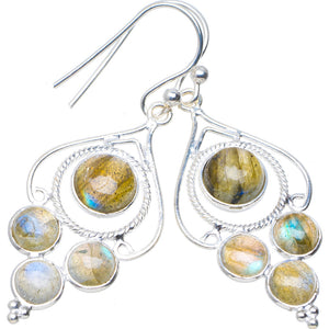 "Natural Blue Fire Labradorite Handmade Unique 925 Sterling Silver Earrings 1.75"" A4417"