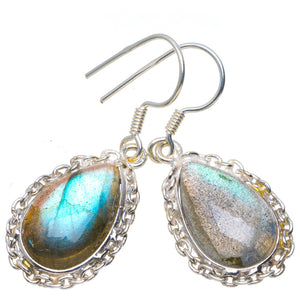 "Natural Blue Fire Labradorite Handmade Unique 925 Sterling Silver Earrings 1.5"" A4442"