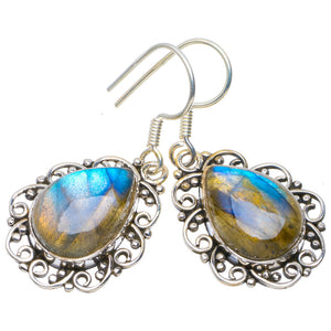 "Natural Blue Fire Labradorite Handmade Unique 925 Sterling Silver Earrings 1.5"" A4453"