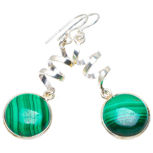 "Natural Malachite Handmade Unique 925 Sterling Silver Earrings 2"" A4458"
