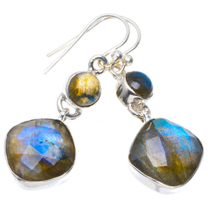 "Natural Blue Fire Labradorite Handmade Unique 925 Sterling Silver Earrings 1.5"" A4463"