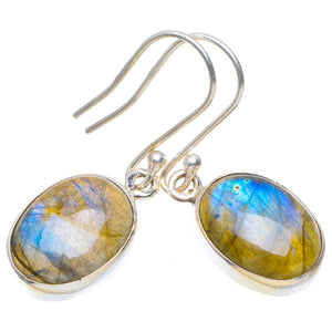 "Natural Blue Fire Labradorite Handmade Unique 925 Sterling Silver Earrings 1.5"" A4476"