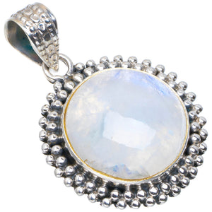 "Natural Rainbow Moonstone Handmade Unique 925 Sterling Silver Pendant 1.5"" A4654"