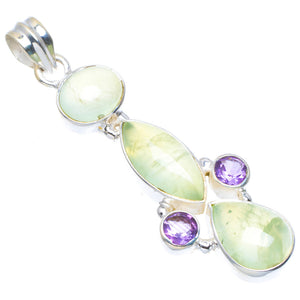 "Natural Prehnite and Amethyst Handmade Unique 925 Sterling Silver Pendant 2"" A4677"