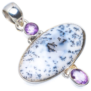 "Natural Dendritic Opal and Amethyst Handmade Unique 925 Sterling Silver Pendant 1.75"" A4687"