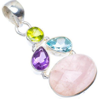 Natural Rose Quartz,Blue Topaz,Amethyst and Peridot 925 Sterling Silver Pendant 1.75