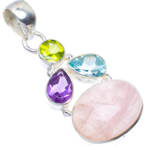 "Natural Rose Quartz,Blue Topaz,Amethyst and Peridot 925 Sterling Silver Pendant 1.75"" A4695"