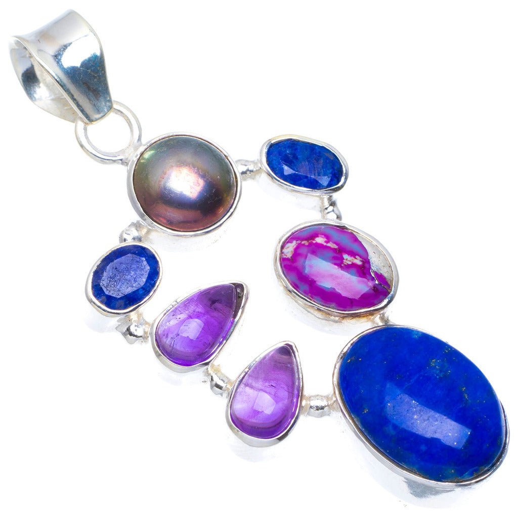 Natural Lapis Lazuli,Sapphire,Iron,Copper Turquoise and Amethyst 925 Sterling Silver Pendant 2