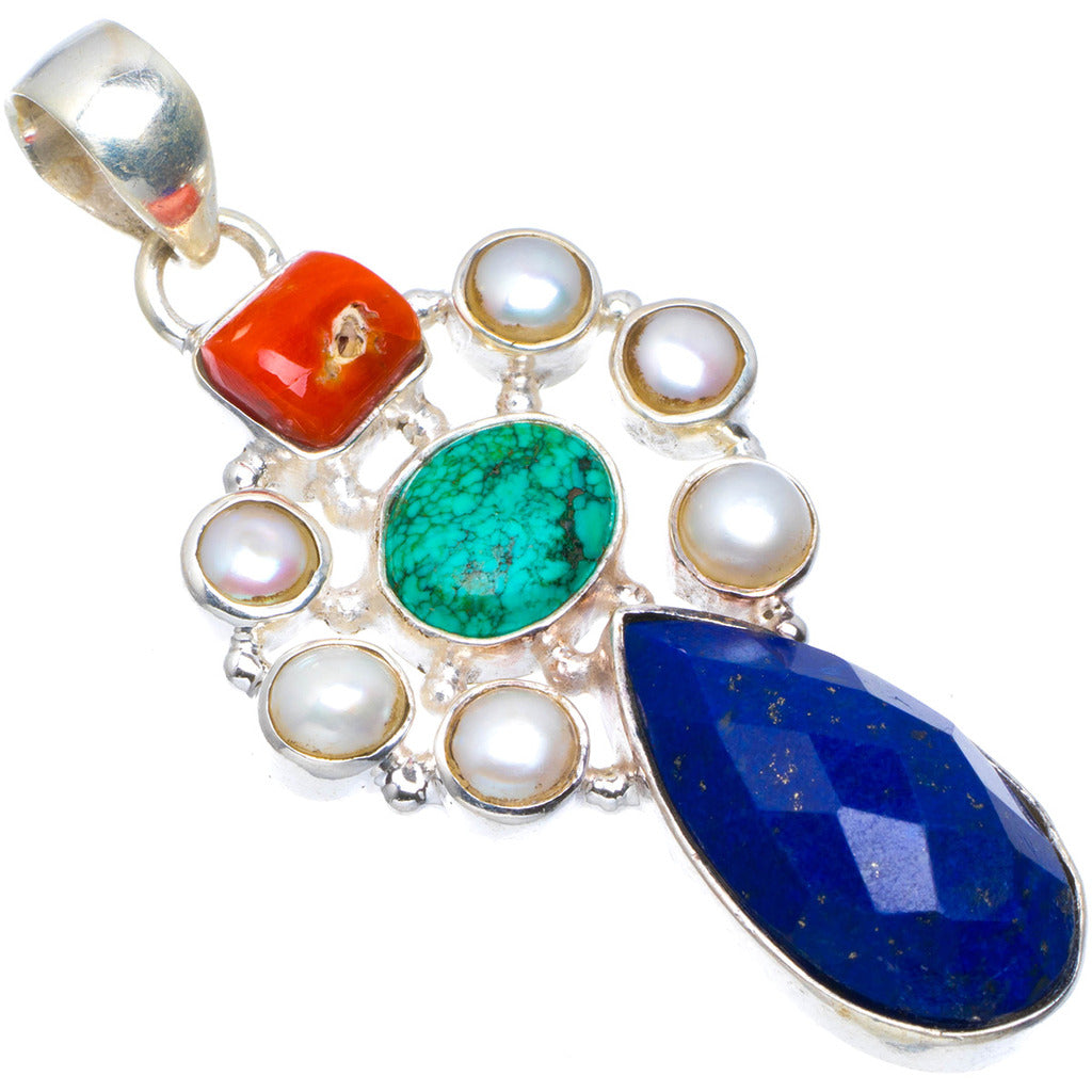 Natural Lapis Lazuli,Red Coral,Turquoise and River Pearl Unique 925 Sterling Silver Pendant 2
