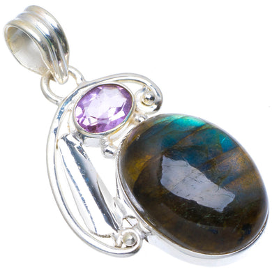 Natural Blue Fire Labradorite and Amethyst Handmade Unique 925 Sterling Silver Pendant 1.5