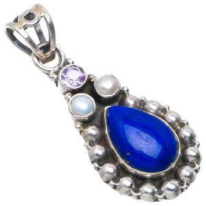 "Natural Lapis Lazuli,River Pearl and Amethyst Handmade Unique 925 Sterling Silver Pendant 1.5"" A4736"