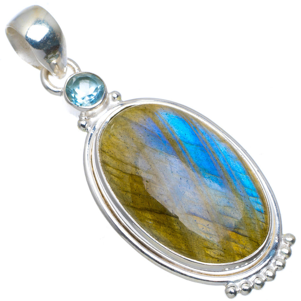 Natural Blue Fire Labradorite and Blue Topaz Handmade Unique 925 Sterling Silver Pendant 2