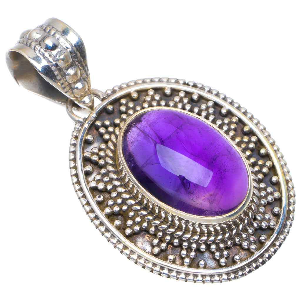 Natural Amethyst Handmade Unique 925 Sterling Silver Pendant 1.25
