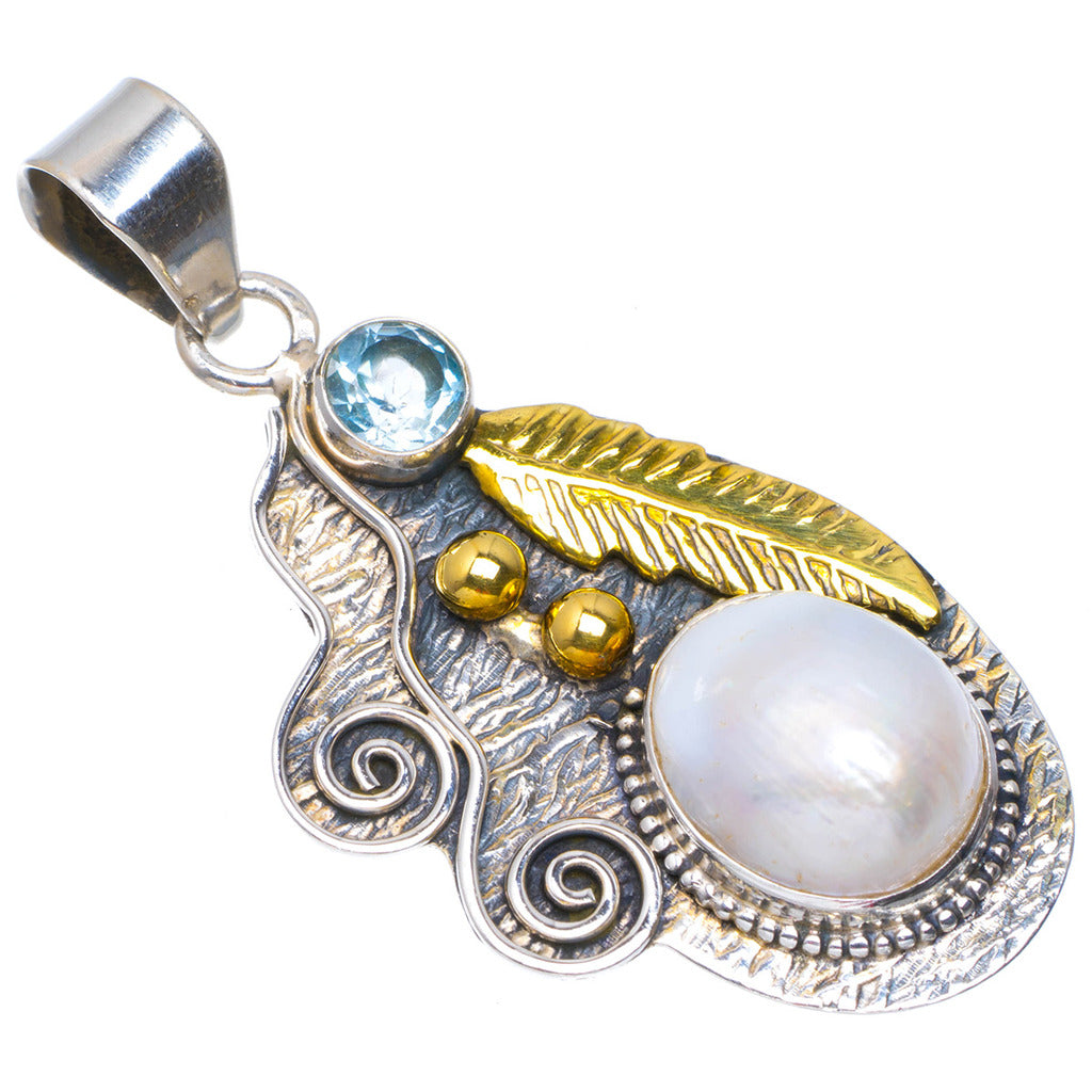 Natural Two Tones River Pearl and Blue Topaz  Handmade Unique 925 Sterling Silver Pendant 2
