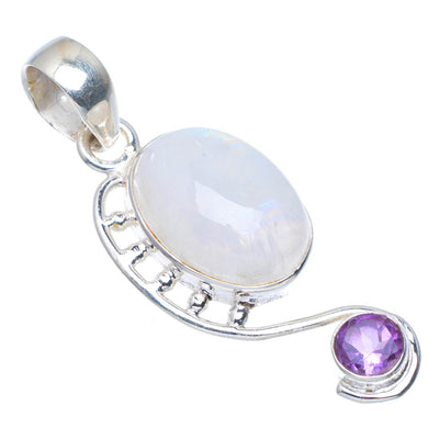 Natural Rainbow Moonstone and Amethyst Handmade Unique 925 Sterling Silver Pendant 2