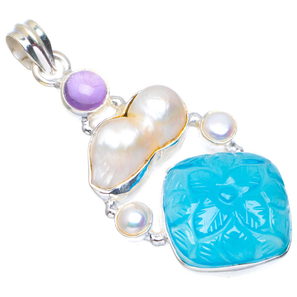 Natural Chalcedony,Biwa Pearl,River Pearl and Amethyst Unique 925 Sterling Silver Pendant 2