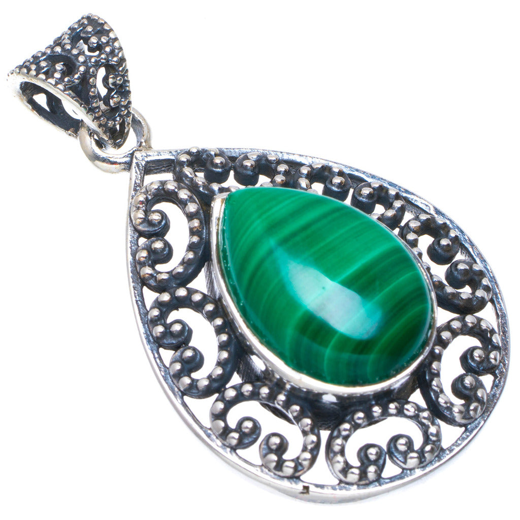 Natural Malachite Handmade Unique 925 Sterling Silver Pendant 1.5