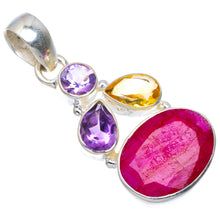 "Natural Cherry Ruby,Amethyst and Citrine Handmade Unique 925 Sterling Silver Pendant 1.75"" A4863"