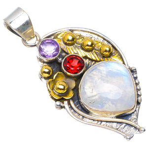 "Natural Two Tones Rainbow Moonstone,Garnet and Amethyst 925 Sterling Silver Pendant 1.75"" A4878"