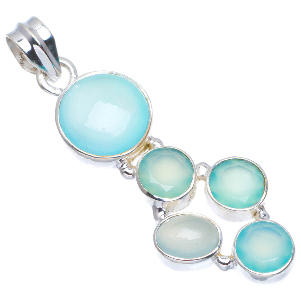 Natural Chalcedony Handmade Unique 925 Sterling Silver Pendant 2
