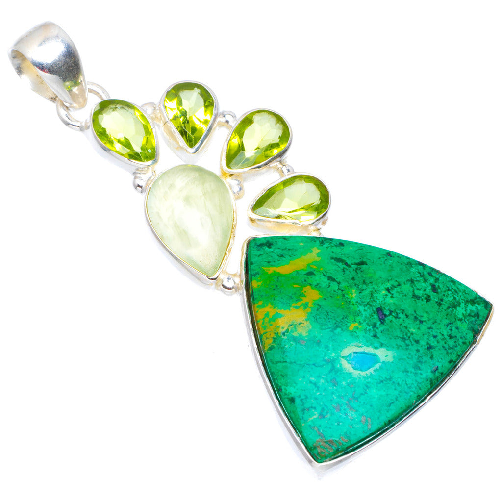Natural Chrysocolla,Perhnite and Peridot Handmade Unique 925 Sterling Silver Pendant 2