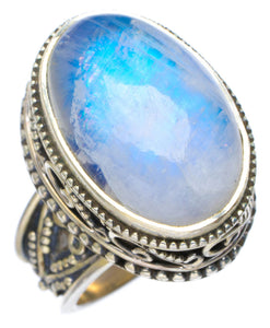 Natural Rainbow Moonstone Handmade Unique 925 Sterling Silver Ring 6 AU0015