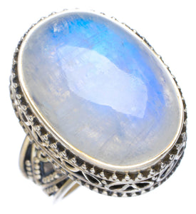 Natural Rainbow Moonstone Handmade Unique 925 Sterling Silver Ring 7.5 AU0019