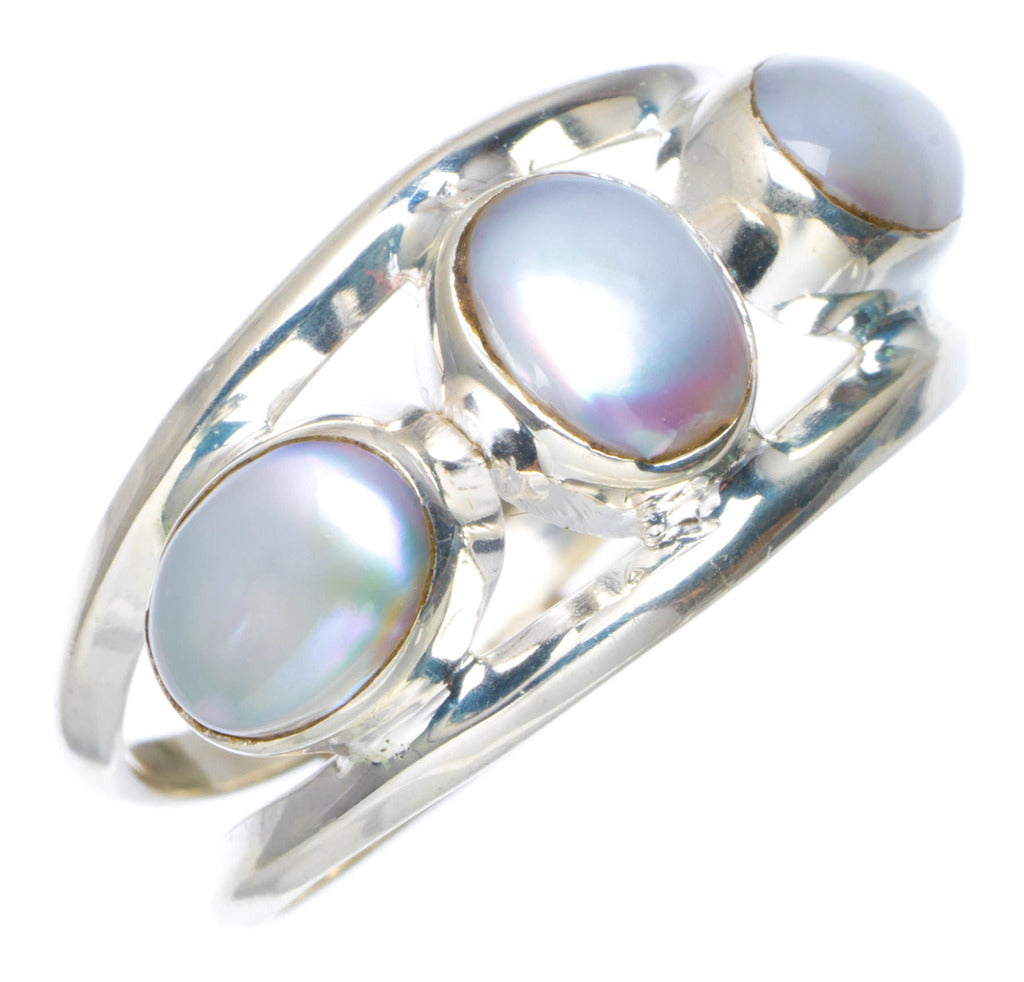 Natural River Pearl Handmade Unique 925 Sterling Silver Ring 8 AU0030